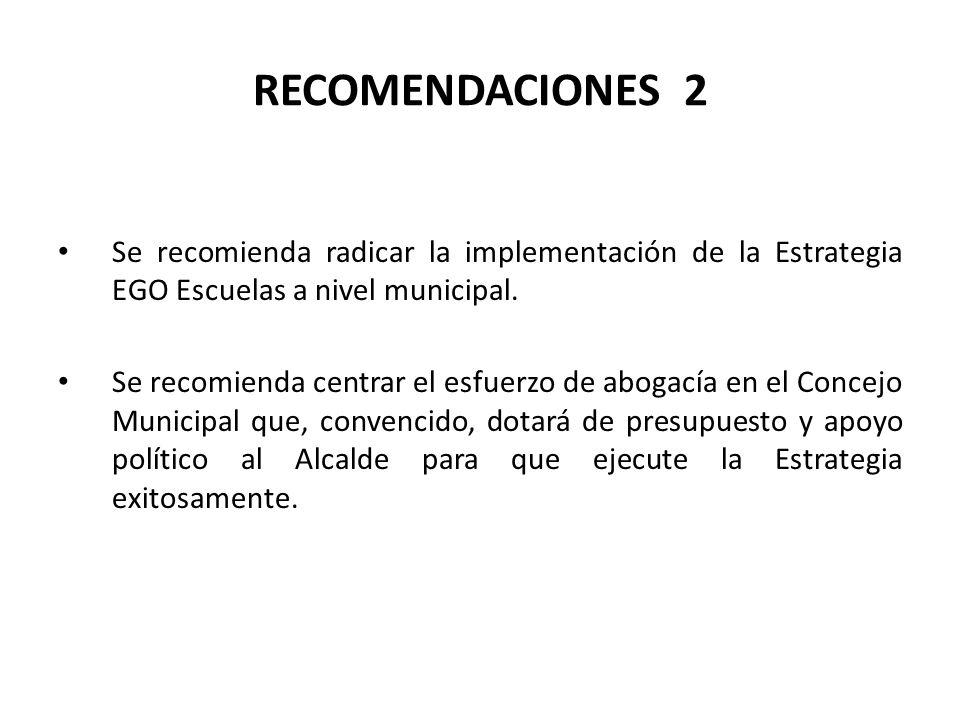 RECOMENDACIONES 2 Se recomienda radicar la implementación de la Estrategia EGO Escuelas a nivel municipal.