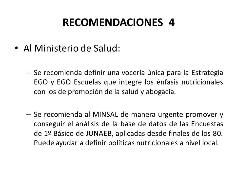 RECOMENDACIONES 4 Al Ministerio de Salud: – Se recomienda definir una vocería única para la Estrategia EGO y EGO Escuelas que integre los énfasis nutricionales con los de promoción de la salud y abogacía.