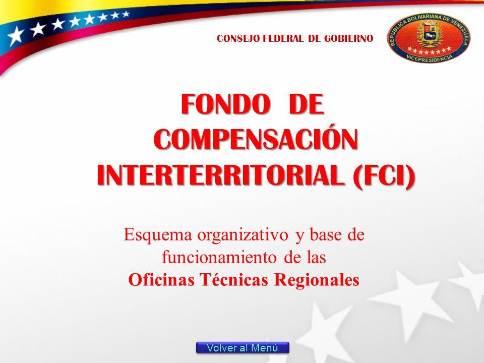 FONDO DE COMPENSACIÓN INTERTERRITORIAL (FCI) Esquema organizativo y base de funcionamiento de las Oficinas Técnicas Regionales CONSEJO FEDERAL DE GOBIERNO Volver al Menú