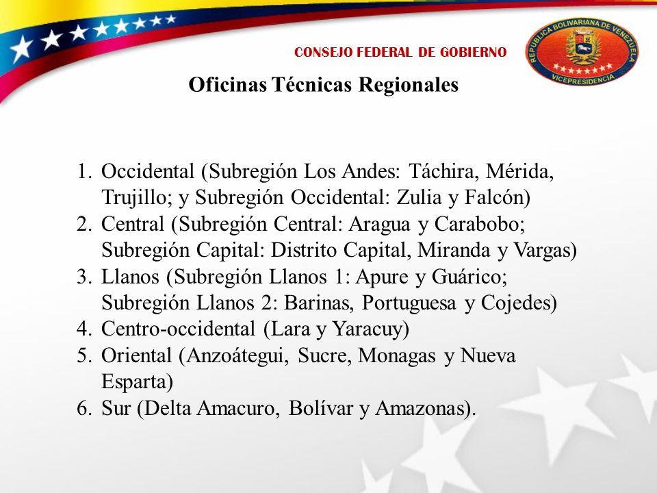 CONSEJO FEDERAL DE GOBIERNO Oficinas Técnicas Regionales 1.Occidental (Subregión Los Andes: Táchira, Mérida, Trujillo; y Subregión Occidental: Zulia y Falcón) 2.Central (Subregión Central: Aragua y Carabobo; Subregión Capital: Distrito Capital, Miranda y Vargas) 3.Llanos (Subregión Llanos 1: Apure y Guárico; Subregión Llanos 2: Barinas, Portuguesa y Cojedes) 4.Centro-occidental (Lara y Yaracuy) 5.Oriental (Anzoátegui, Sucre, Monagas y Nueva Esparta) 6.Sur (Delta Amacuro, Bolívar y Amazonas).