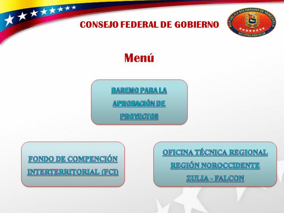 CONSEJO FEDERAL DE GOBIERNO Menú