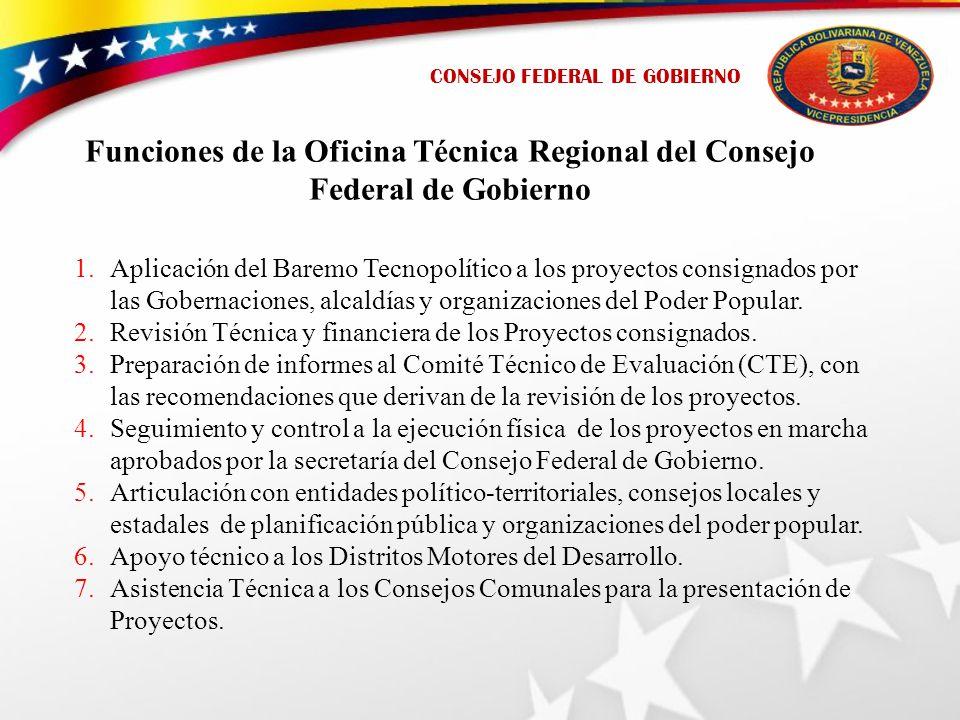 Funciones de la Oficina Técnica Regional del Consejo Federal de Gobierno 1.Aplicación del Baremo Tecnopolítico a los proyectos consignados por las Gobernaciones, alcaldías y organizaciones del Poder Popular.