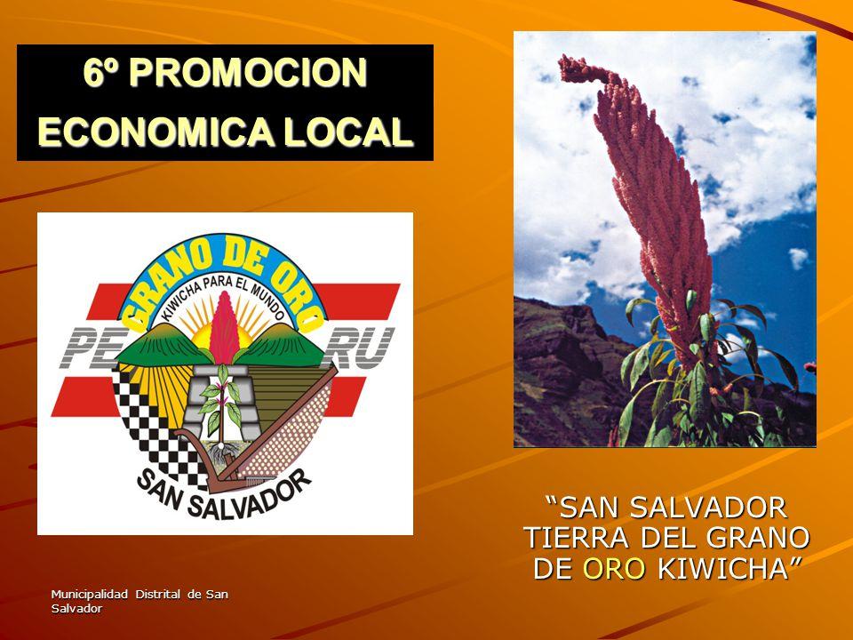 Municipalidad Distrital de San Salvador 6º PROMOCION ECONOMICA LOCAL SAN SALVADOR TIERRA DEL GRANO DE ORO KIWICHA