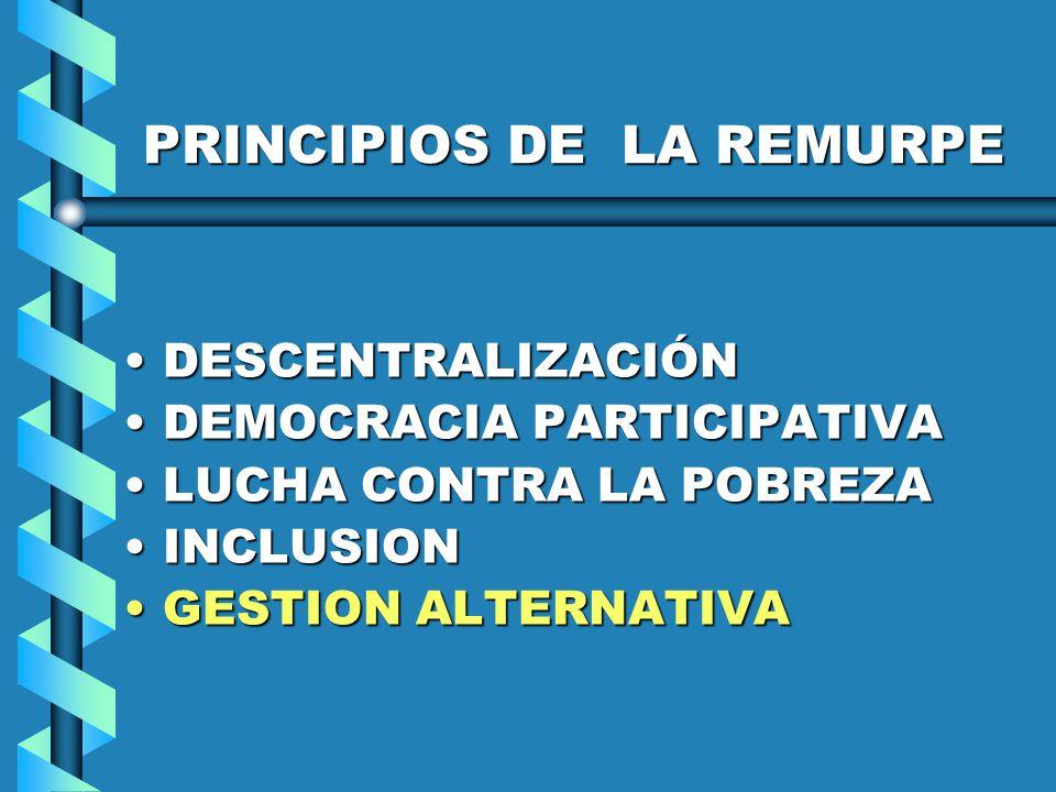 PRINCIPIOS DE LA REMURPE DESCENTRALIZACIÓNDESCENTRALIZACIÓN DEMOCRACIA PARTICIPATIVADEMOCRACIA PARTICIPATIVA LUCHA CONTRA LA POBREZALUCHA CONTRA LA POBREZA INCLUSIONINCLUSION GESTION ALTERNATIVAGESTION ALTERNATIVA