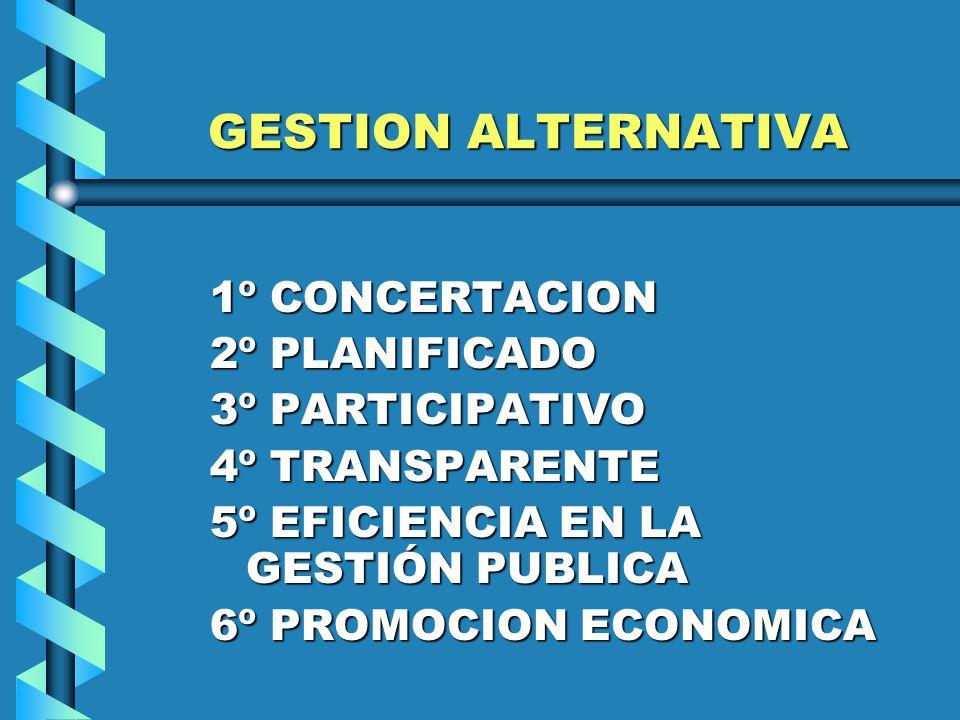 GESTION ALTERNATIVA 1º CONCERTACION 2º PLANIFICADO 3º PARTICIPATIVO 4º TRANSPARENTE 5º EFICIENCIA EN LA GESTIÓN PUBLICA 6º PROMOCION ECONOMICA