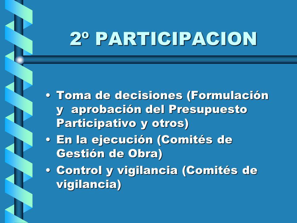 2º PARTICIPACION Toma de decisiones (Formulación y aprobación del Presupuesto Participativo y otros)Toma de decisiones (Formulación y aprobación del Presupuesto Participativo y otros) En la ejecución (Comités de Gestión de Obra)En la ejecución (Comités de Gestión de Obra) Control y vigilancia (Comités de vigilancia)Control y vigilancia (Comités de vigilancia)