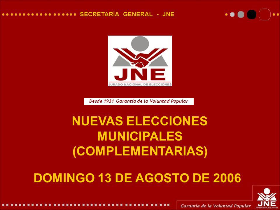 DOMINGO 13 DE AGOSTO DE 2006 SECRETARÍA GENERAL - JNE NUEVAS ELECCIONES MUNICIPALES (COMPLEMENTARIAS) Desde 1931 Garantía de la Voluntad Popular