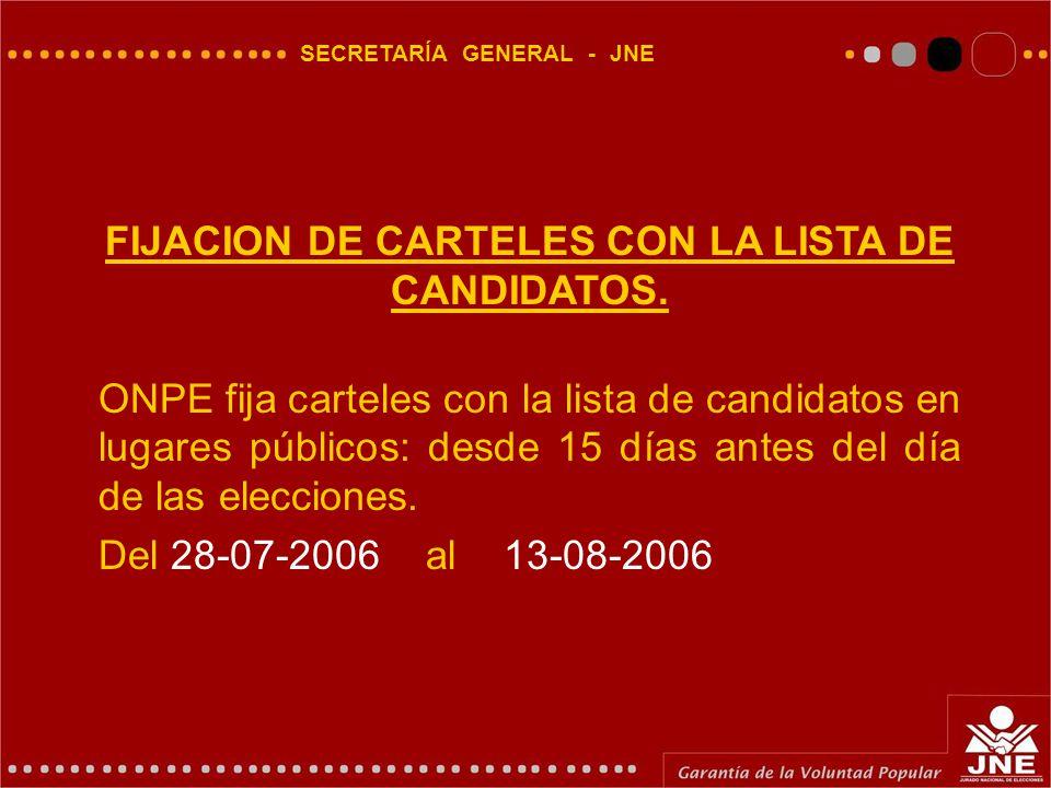 SECRETARÍA GENERAL - JNE FIJACION DE CARTELES CON LA LISTA DE CANDIDATOS.