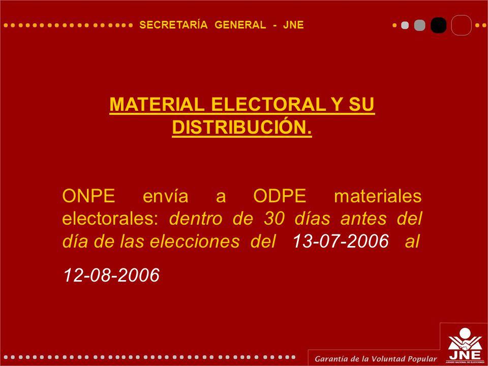 SECRETARÍA GENERAL - JNE MATERIAL ELECTORAL Y SU DISTRIBUCIÓN.