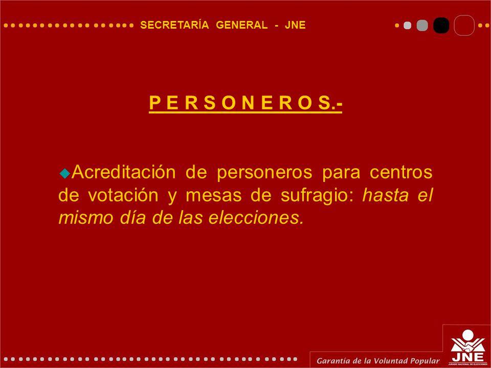SECRETARÍA GENERAL - JNE P E R S O N E R O S.-  Acreditación de personeros para centros de votación y mesas de sufragio: hasta el mismo día de las elecciones.