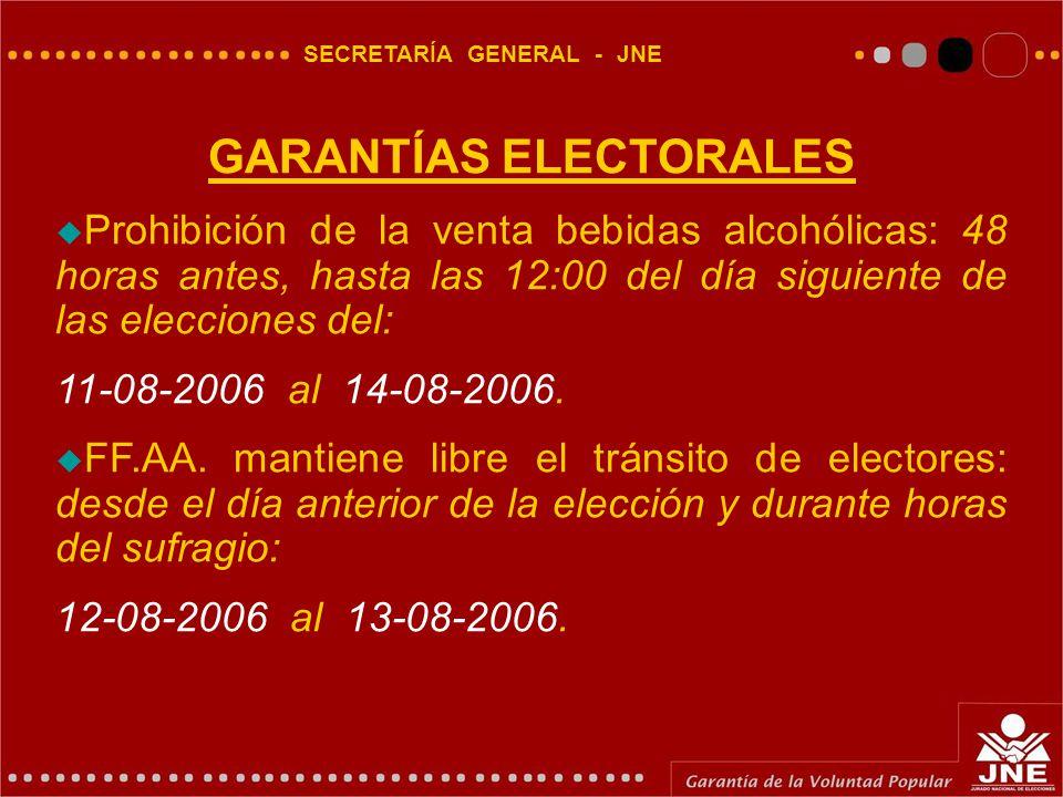 SECRETARÍA GENERAL - JNE GARANTÍAS ELECTORALES  Prohibición de la venta bebidas alcohólicas: 48 horas antes, hasta las 12:00 del día siguiente de las elecciones del: 11-08-2006 al 14-08-2006.
