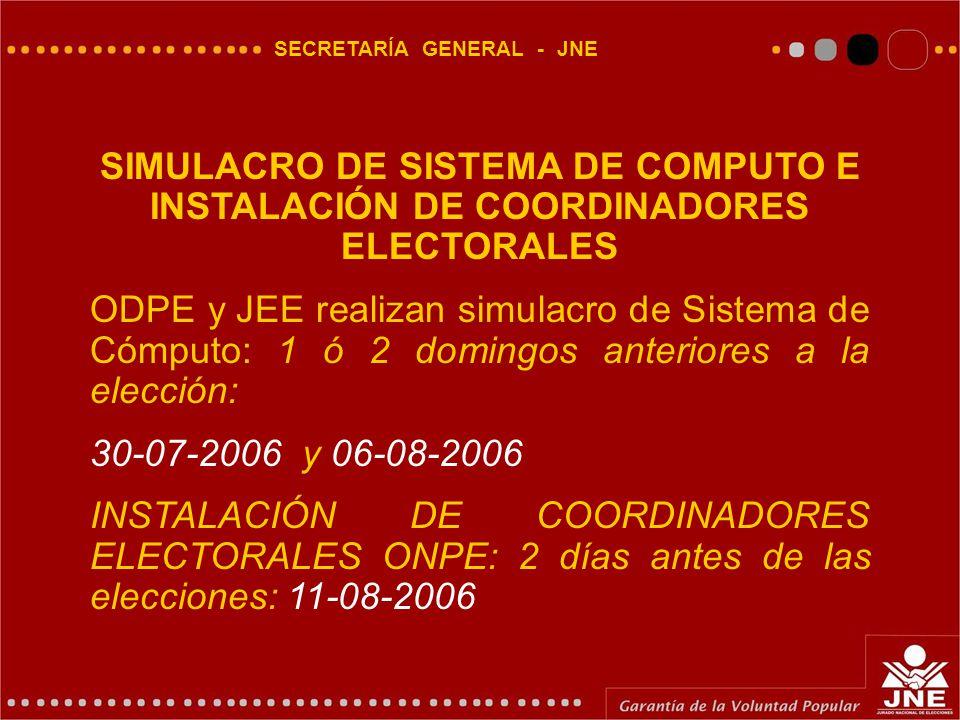 SECRETARÍA GENERAL - JNE SIMULACRO DE SISTEMA DE COMPUTO E INSTALACIÓN DE COORDINADORES ELECTORALES ODPE y JEE realizan simulacro de Sistema de Cómputo: 1 ó 2 domingos anteriores a la elección: 30-07-2006 y 06-08-2006 INSTALACIÓN DE COORDINADORES ELECTORALES ONPE: 2 días antes de las elecciones: 11-08-2006