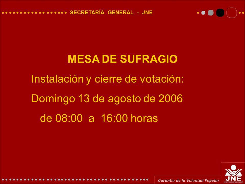 SECRETARÍA GENERAL - JNE MESA DE SUFRAGIO Instalación y cierre de votación: Domingo 13 de agosto de 2006 de 08:00 a 16:00 horas