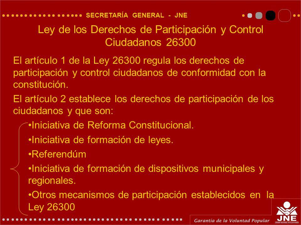 SECRETARÍA GENERAL - JNE El artículo 1 de la Ley 26300 regula los derechos de participación y control ciudadanos de conformidad con la constitución.
