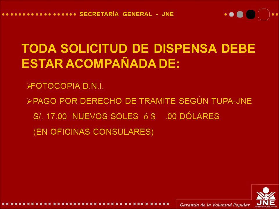 SECRETARÍA GENERAL - JNE TODA SOLICITUD DE DISPENSA DEBE ESTAR ACOMPAÑADA DE:  FOTOCOPIA D.N.I.