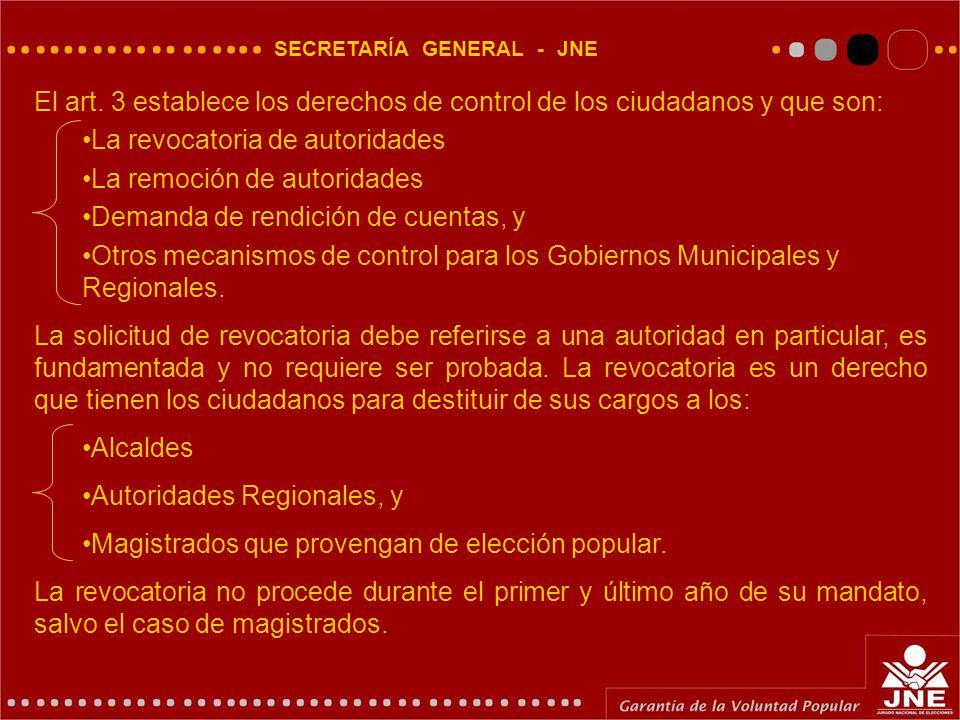 SECRETARÍA GENERAL - JNE El art.