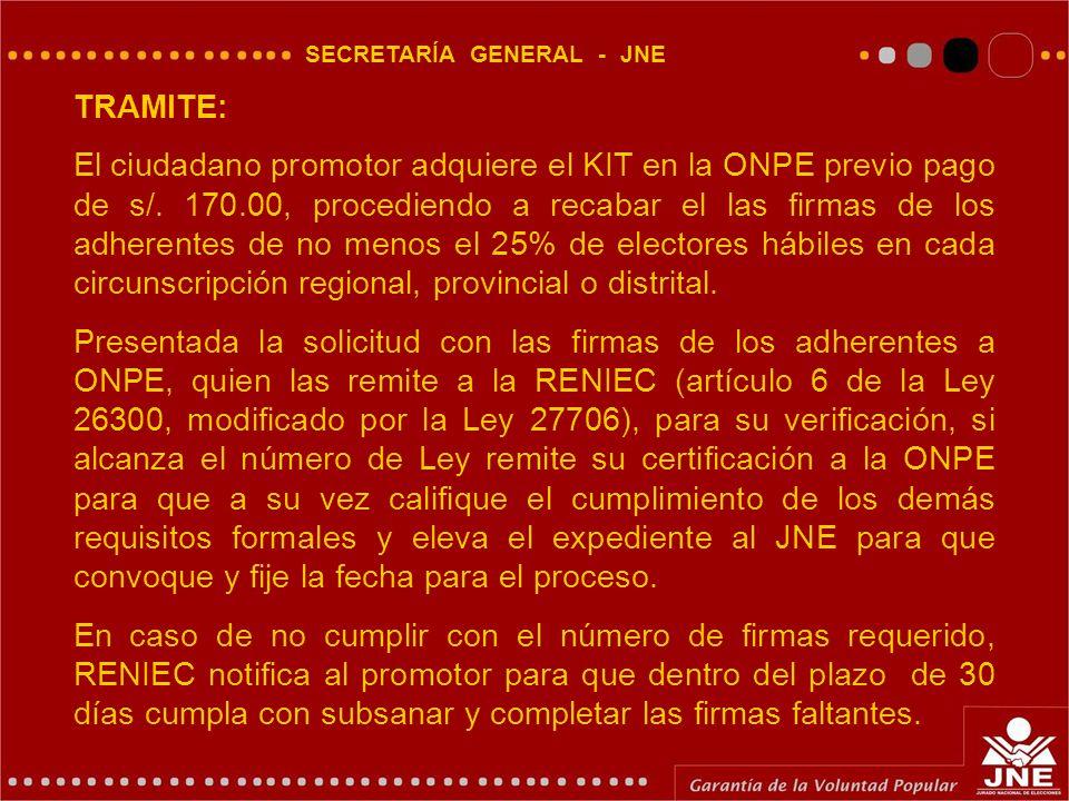 SECRETARÍA GENERAL - JNE TRAMITE: El ciudadano promotor adquiere el KIT en la ONPE previo pago de s/.