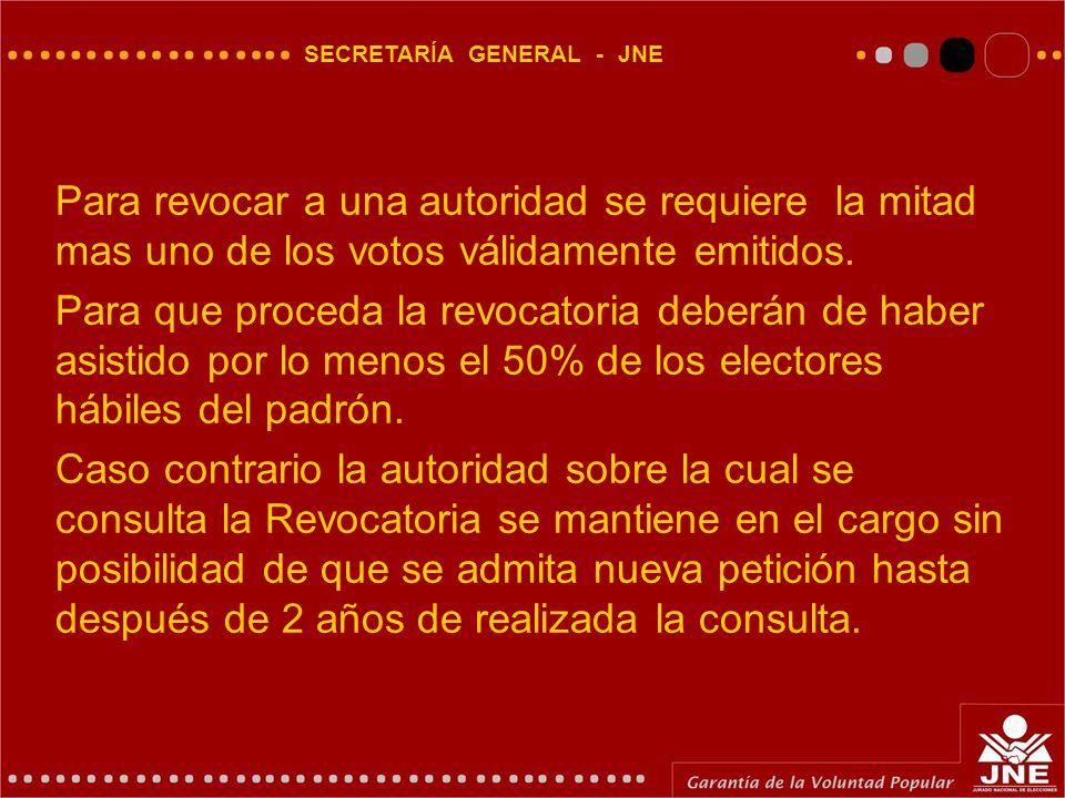 SECRETARÍA GENERAL - JNE Para revocar a una autoridad se requiere la mitad mas uno de los votos válidamente emitidos.