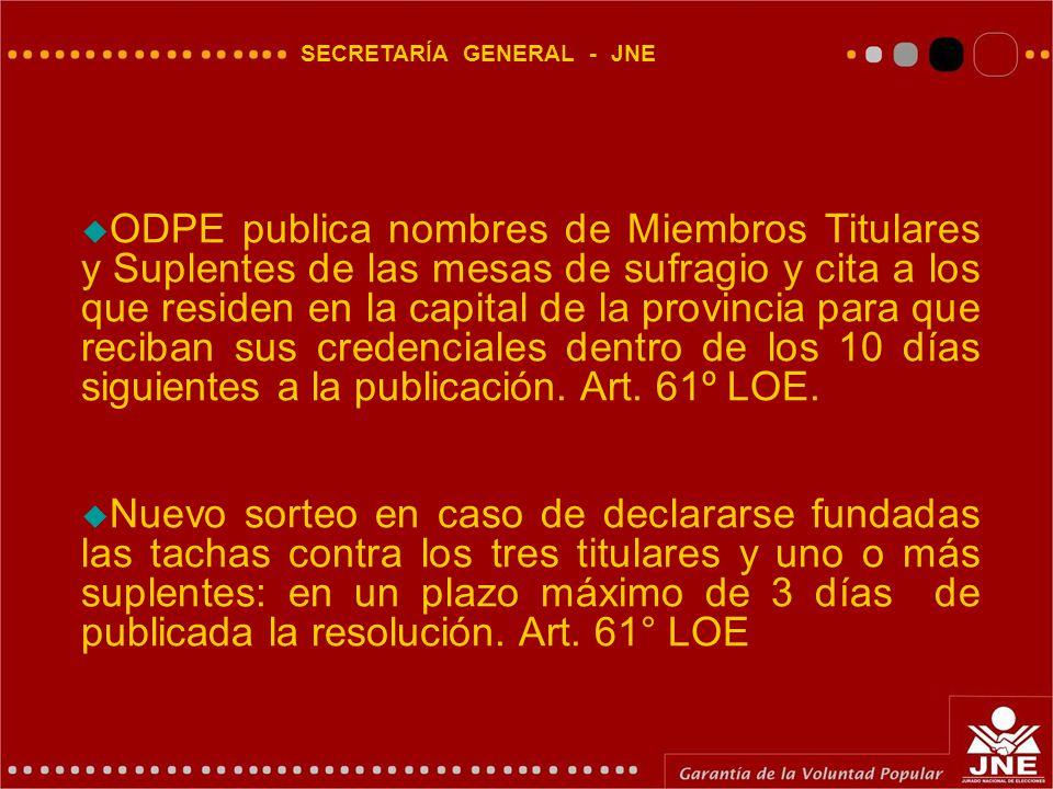 SECRETARÍA GENERAL - JNE  ODPE publica nombres de Miembros Titulares y Suplentes de las mesas de sufragio y cita a los que residen en la capital de la provincia para que reciban sus credenciales dentro de los 10 días siguientes a la publicación.