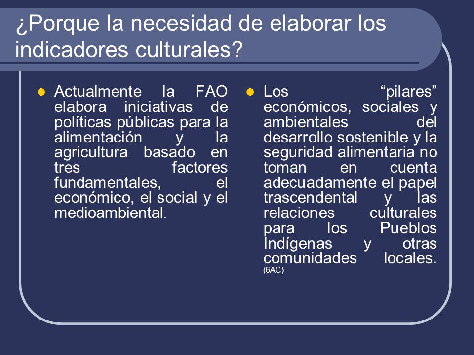 ¿Porque la necesidad de elaborar los indicadores culturales.
