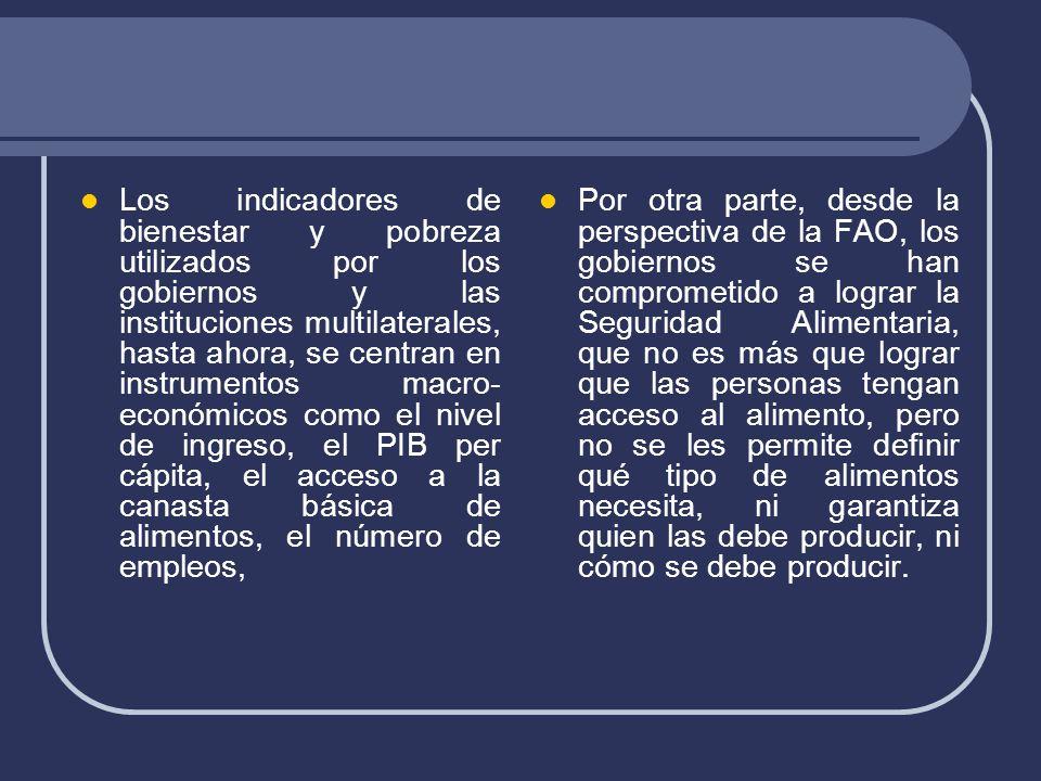 Los indicadores de bienestar y pobreza utilizados por los gobiernos y las instituciones multilaterales, hasta ahora, se centran en instrumentos macro- económicos como el nivel de ingreso, el PIB per cápita, el acceso a la canasta básica de alimentos, el número de empleos, Por otra parte, desde la perspectiva de la FAO, los gobiernos se han comprometido a lograr la Seguridad Alimentaria, que no es más que lograr que las personas tengan acceso al alimento, pero no se les permite definir qué tipo de alimentos necesita, ni garantiza quien las debe producir, ni cómo se debe producir.