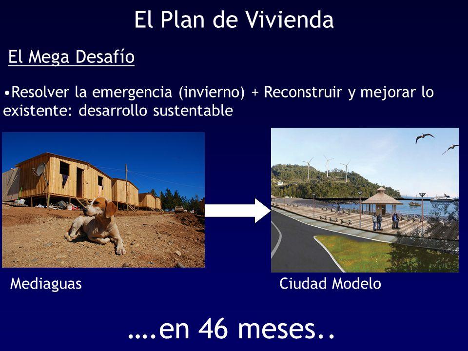 El Plan de Vivienda Resolver la emergencia (invierno) + Reconstruir y mejorar lo existente: desarrollo sustentable El Mega Desafío ….en 46 meses..