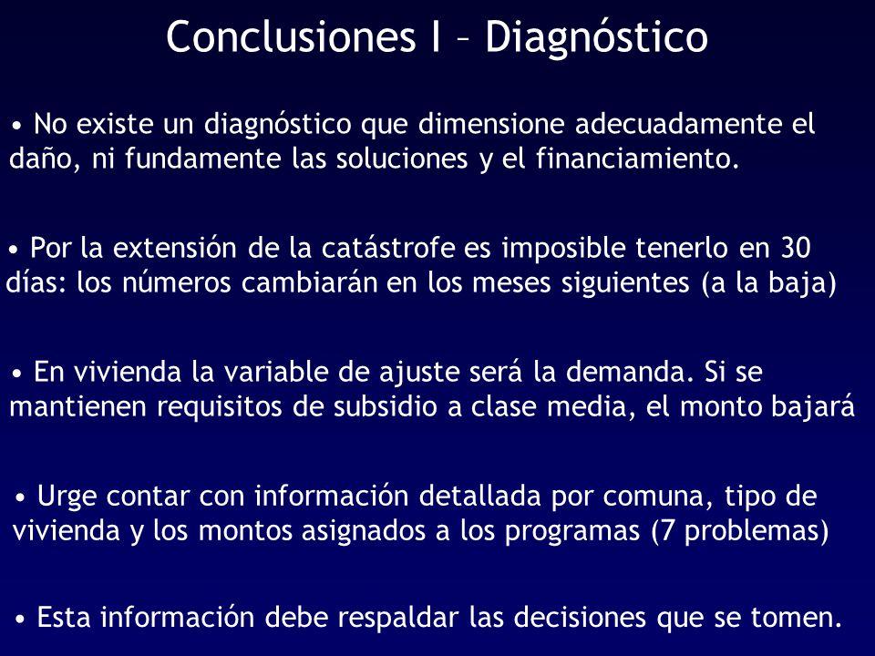Conclusiones I – Diagnóstico No existe un diagnóstico que dimensione adecuadamente el daño, ni fundamente las soluciones y el financiamiento.