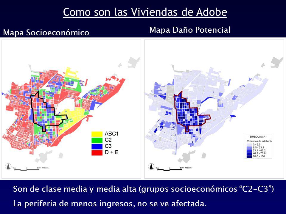 Como son las Viviendas de Adobe Mapa Socioeconómico Son de clase media y media alta (grupos socioeconómicos C2-C3 ) La periferia de menos ingresos, no se ve afectada.