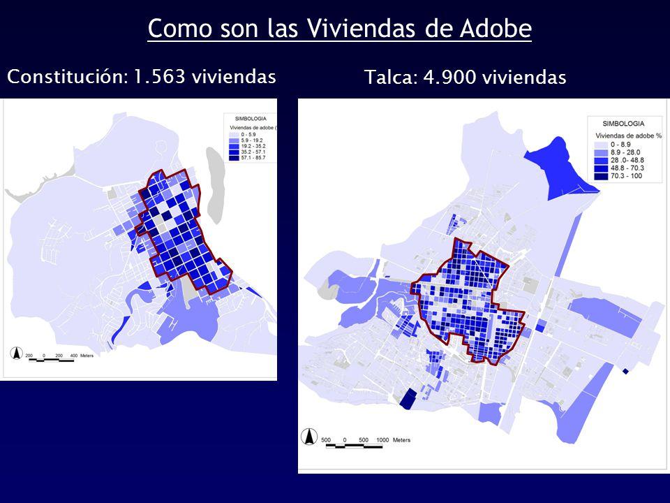 Como son las Viviendas de Adobe Constitución: 1.563 viviendas Talca: 4.900 viviendas