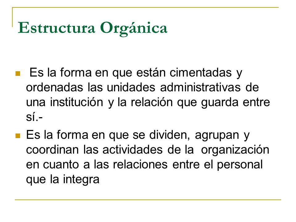 Estructura Orgánica Es la forma en que están cimentadas y ordenadas las unidades administrativas de una institución y la relación que guarda entre sí.- Es la forma en que se dividen, agrupan y coordinan las actividades de la organización en cuanto a las relaciones entre el personal que la integra