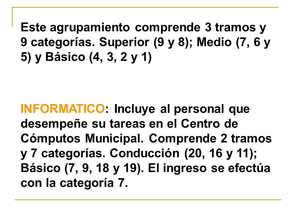 INFORMATICO: Incluye al personal que desempeñe su tareas en el Centro de Cómputos Municipal.