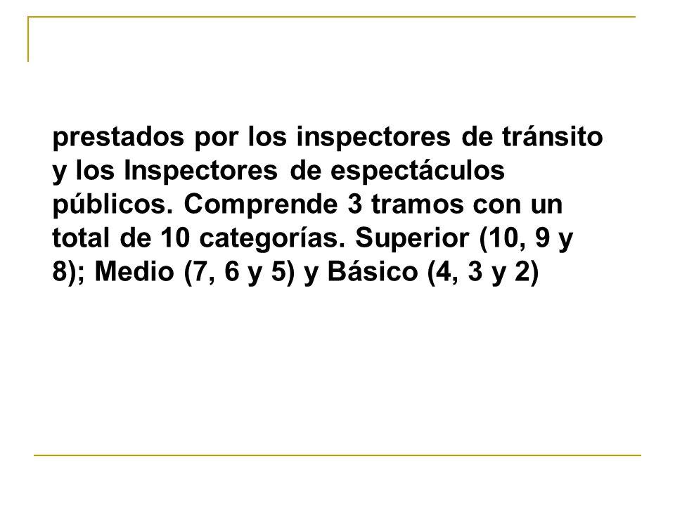prestados por los inspectores de tránsito y los Inspectores de espectáculos públicos.