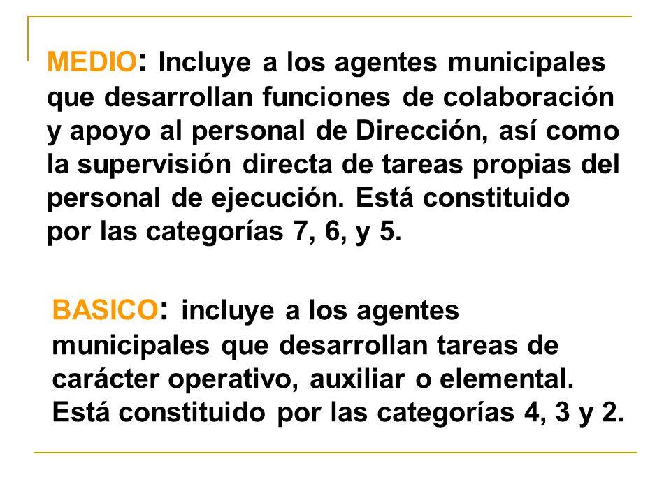 MEDIO : Incluye a los agentes municipales que desarrollan funciones de colaboración y apoyo al personal de Dirección, así como la supervisión directa de tareas propias del personal de ejecución.