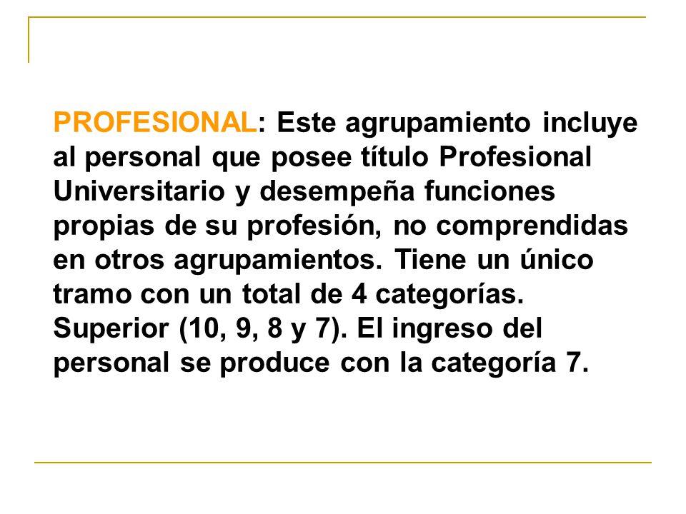 PROFESIONAL: Este agrupamiento incluye al personal que posee título Profesional Universitario y desempeña funciones propias de su profesión, no comprendidas en otros agrupamientos.