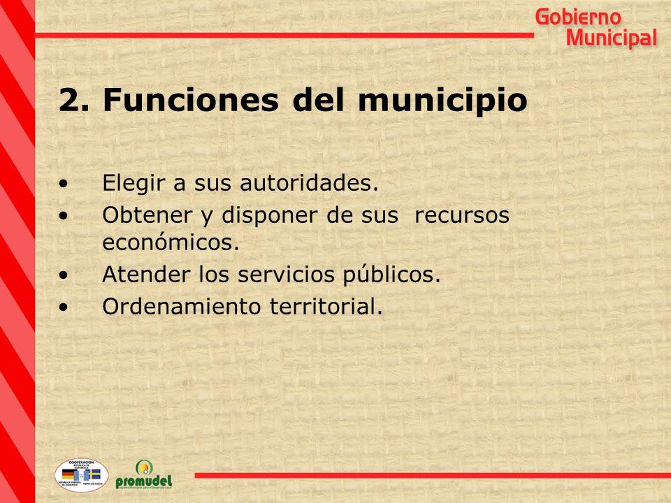 2.Funciones del municipio Elegir a sus autoridades.