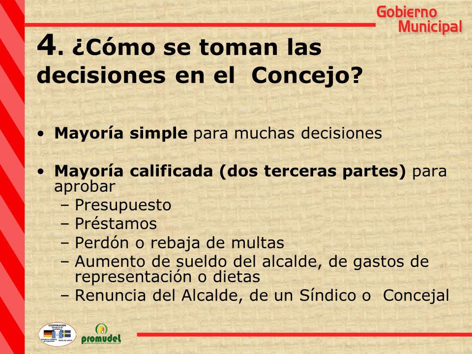 4. ¿Cómo se toman las decisiones en el Concejo.