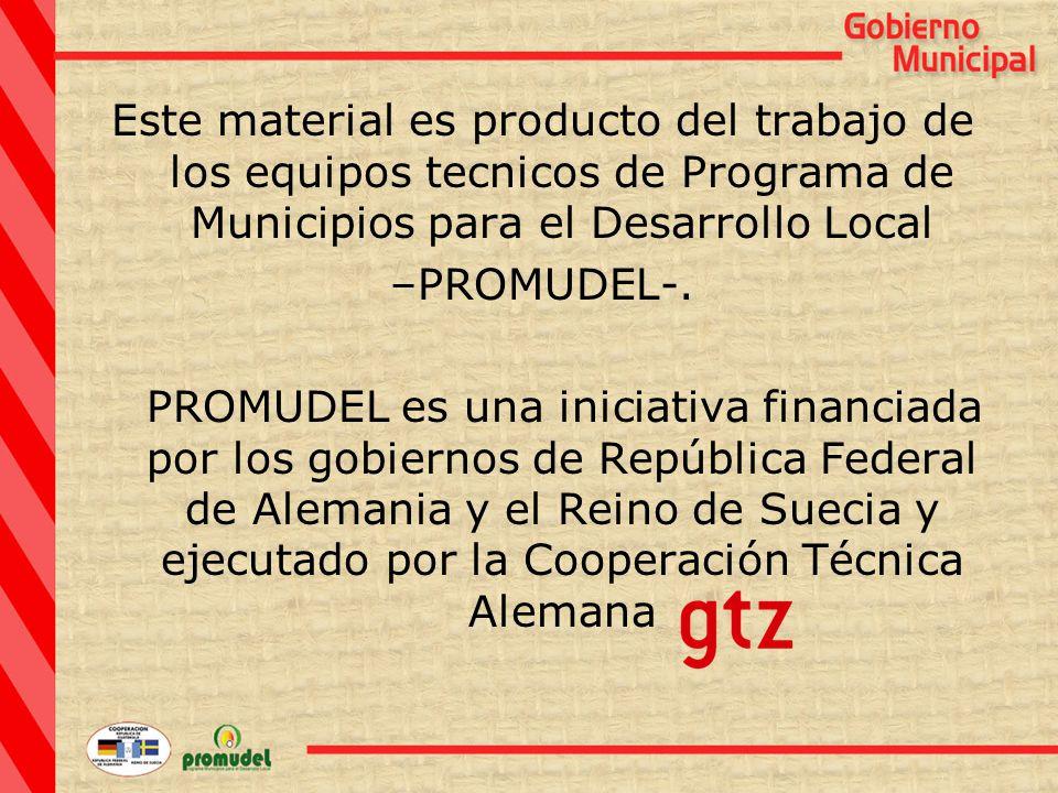 Este material es producto del trabajo de los equipos tecnicos de Programa de Municipios para el Desarrollo Local –PROMUDEL-.