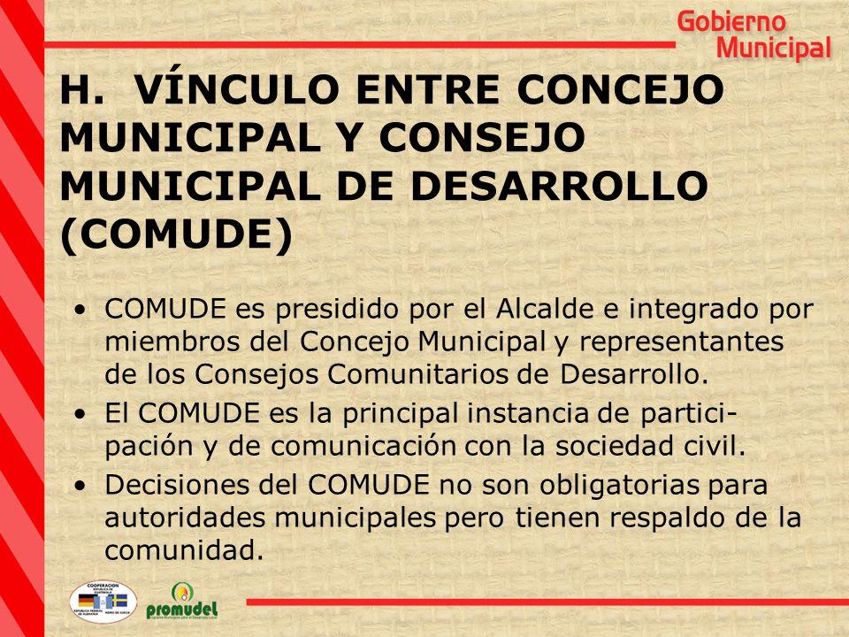 COMUDE es presidido por el Alcalde e integrado por miembros del Concejo Municipal y representantes de los Consejos Comunitarios de Desarrollo.