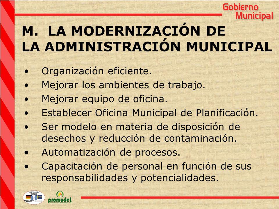 M. LA MODERNIZACIÓN DE LA ADMINISTRACIÓN MUNICIPAL Organización eficiente.
