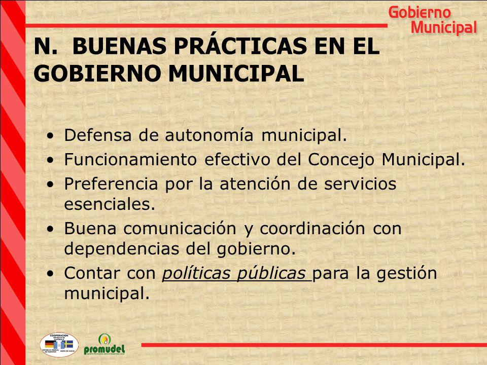 N. BUENAS PRÁCTICAS EN EL GOBIERNO MUNICIPAL Defensa de autonomía municipal.