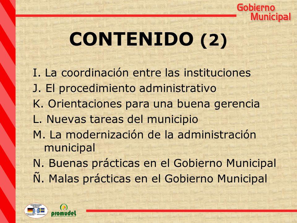 CONTENIDO (2) I. La coordinación entre las instituciones J.