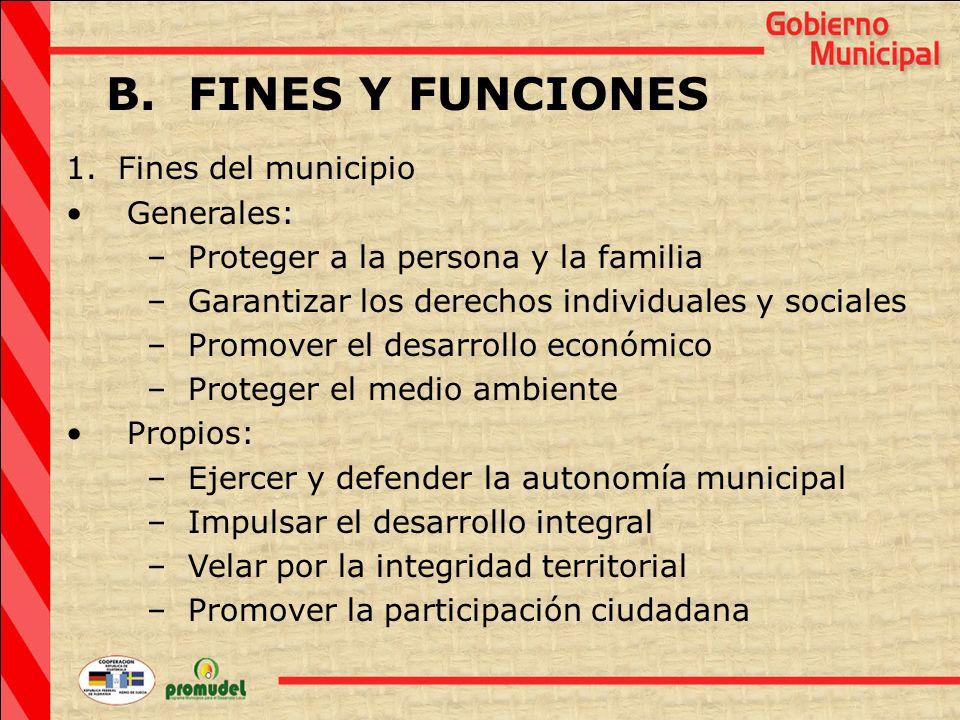 B. FINES Y FUNCIONES 1.