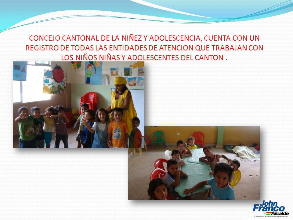 CONCEJO CANTONAL DE LA NIÑEZ Y ADOLESCENCIA, CUENTA CON UN REGISTRO DE TODAS LAS ENTIDADES DE ATENCION QUE TRABAJAN CON LOS NIÑOS NIÑAS Y ADOLESCENTES DEL CANTON.