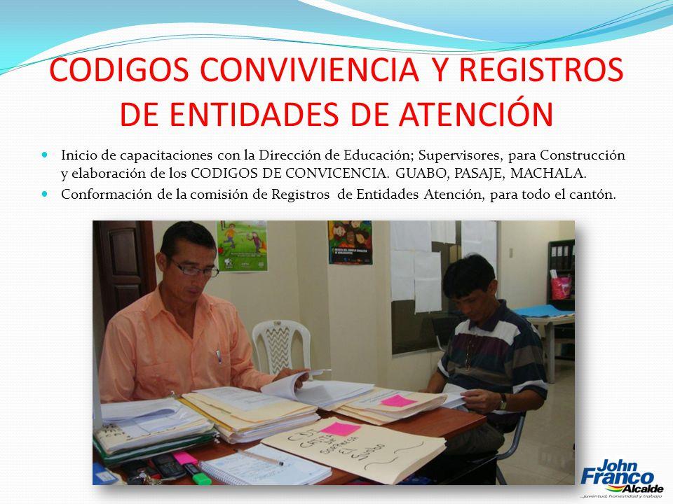 CODIGOS CONVIVIENCIA Y REGISTROS DE ENTIDADES DE ATENCIÓN Inicio de capacitaciones con la Dirección de Educación; Supervisores, para Construcción y elaboración de los CODIGOS DE CONVICENCIA.