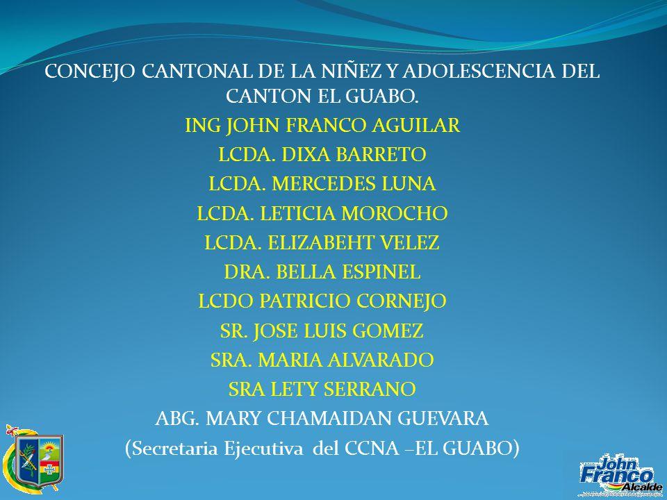 CONCEJO CANTONAL DE LA NIÑEZ Y ADOLESCENCIA DEL CANTON EL GUABO.