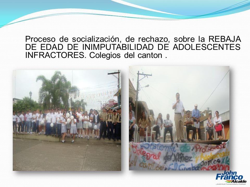 Proceso de socialización, de rechazo, sobre la REBAJA DE EDAD DE INIMPUTABILIDAD DE ADOLESCENTES INFRACTORES.