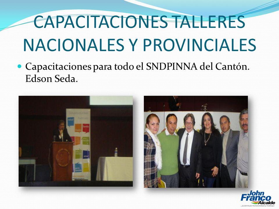 CAPACITACIONES TALLERES NACIONALES Y PROVINCIALES Capacitaciones para todo el SNDPINNA del Cantón.