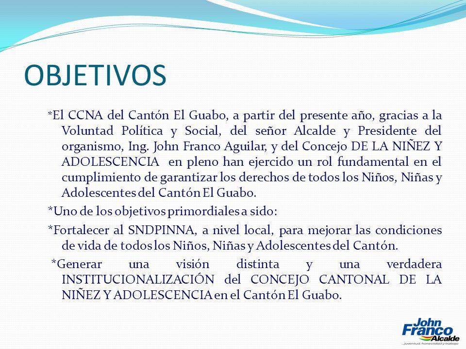OBJETIVOS * El CCNA del Cantón El Guabo, a partir del presente año, gracias a la Voluntad Política y Social, del señor Alcalde y Presidente del organismo, Ing.