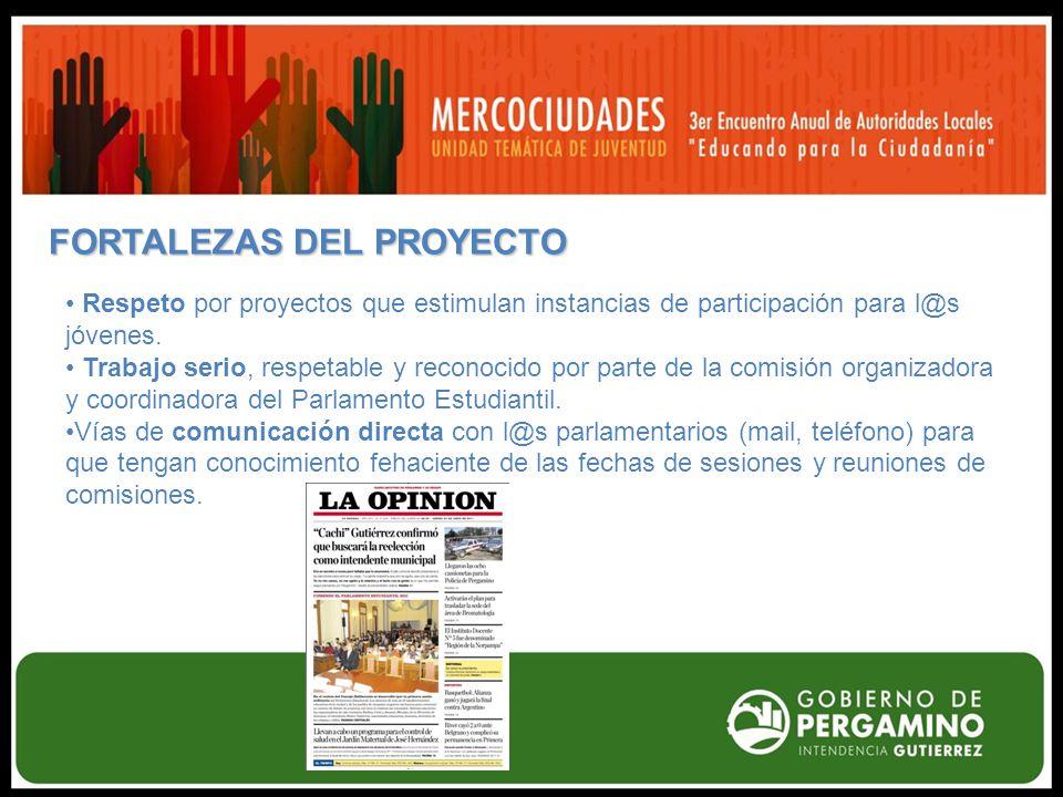 FORTALEZAS DEL PROYECTO Respeto por proyectos que estimulan instancias de participación para l@s jóvenes.
