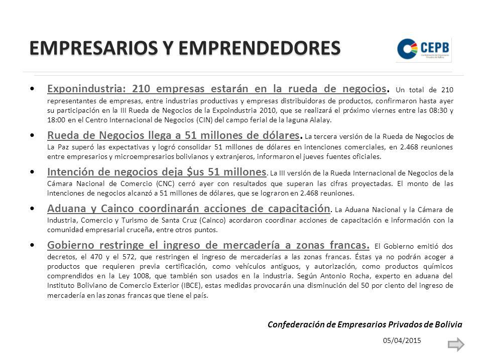 EMPRESARIOS Y EMPRENDEDORES Exponindustria: 210 empresas estarán en la rueda de negocios.